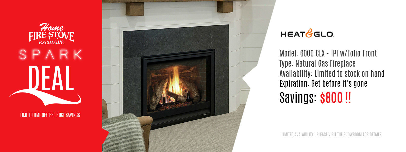 ON Sale at Home Fire Stove Salem, Model: Heat n Glo 6000 CLX - IPI w/Folio Front